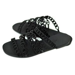 Hermes Black Rubber Jellies Chains Sandals 8.5